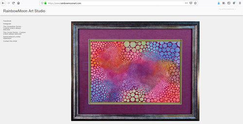 A screen capture of the front page of RainbowMoon's art website