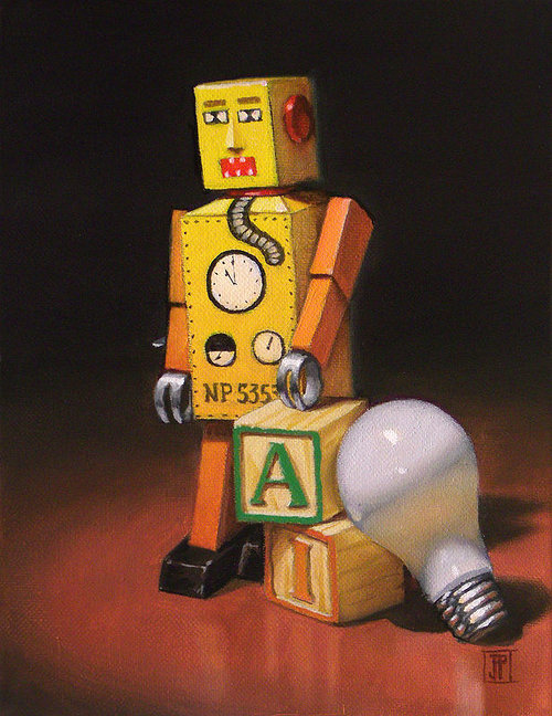 Oil painting of toy robot