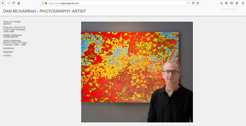 The front page of Dan McGarrah's art portfolio website