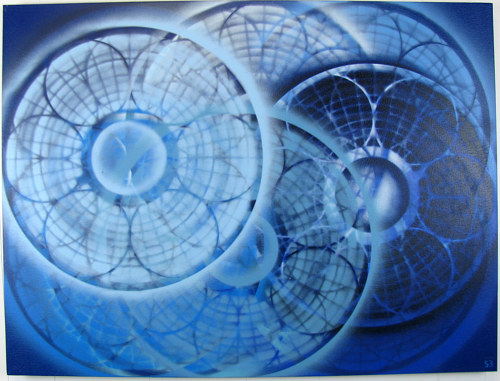 A painting of concentric geometric circles