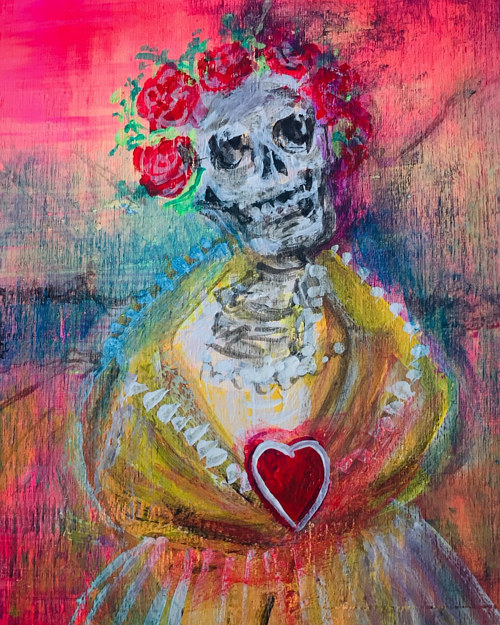 A painting of a brightly dressed skeleton