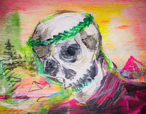 A painting of a skull in front of a bright landscape