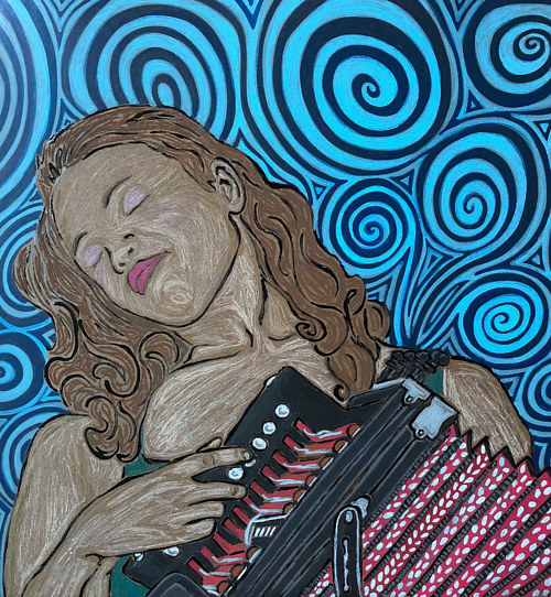 A painting of a woman playing an accordion