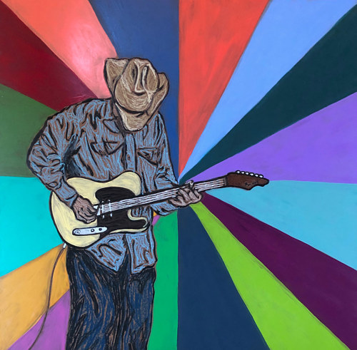 A painting of a man in a cowboy hat playing a guitar