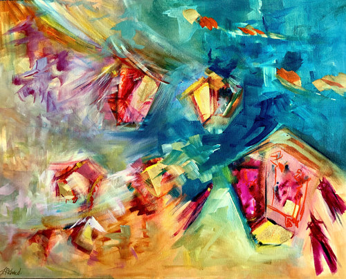 A painting of lanterns in acrylic and metallic leaf