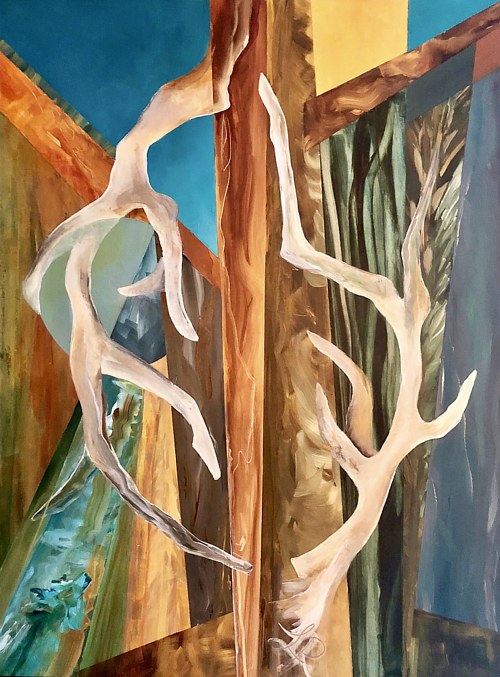 A painting of abstracted antlers or branches