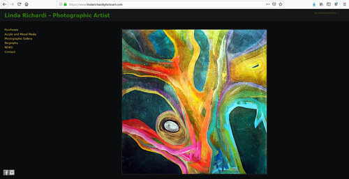 The front page of Linda Richardi's art portfolio website