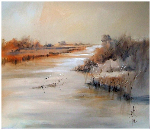 An oil and mixed media painting of a serene river