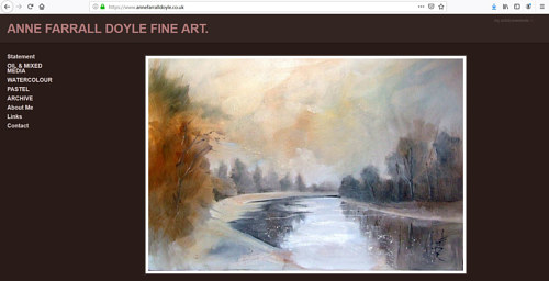 A screen capture of Anne Farrall Doyle's art portfolio website
