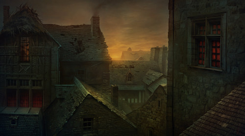 A digital painting of an eerie village
