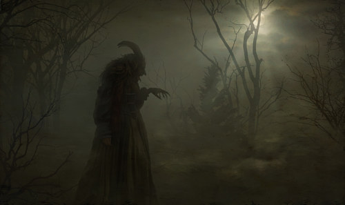 A digital painting of a mysterious figure in a dark forest