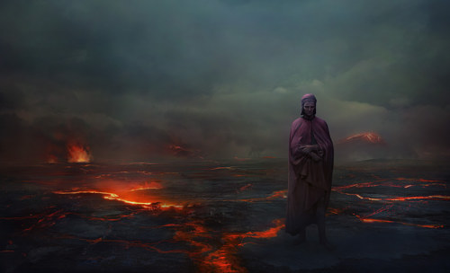 A digital painting of Dante at the gates of hell