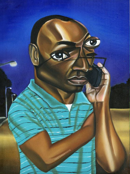 A painting of the black man on cellphone meme