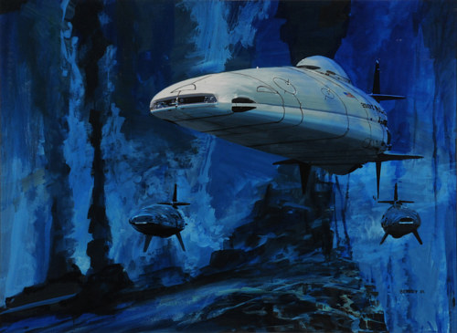 A painting of futuristic underwater ships