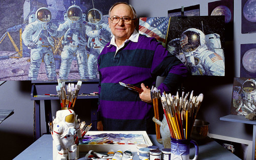 A photo of painter Alan Bean in his art studio
