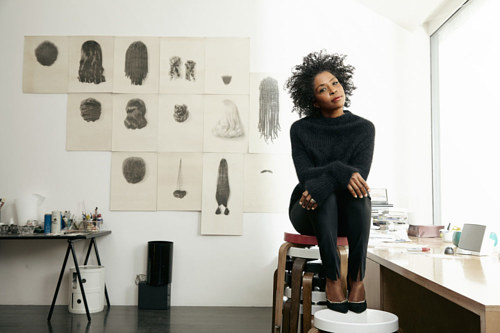 A photo of Lorna Simpson in her art studio
