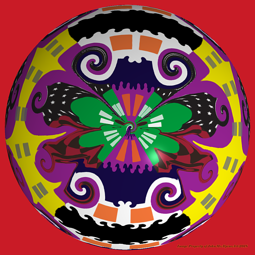 A digital artwork with bright colours and a repeating pattern