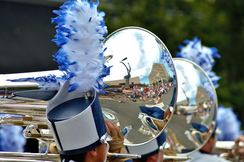 A photo of a polished horn in a parade