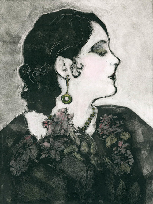 A portrait of a woman in profile