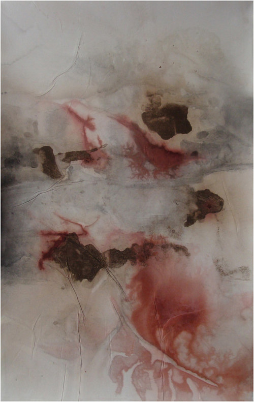 An abstract ink drawing with tones of pale red