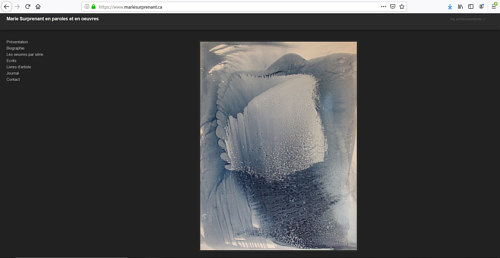 A screen capture of Marie Surprenant's art portfolio website