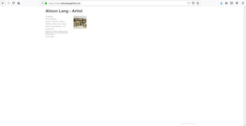 The front page of Alison Lang's art portfolio website