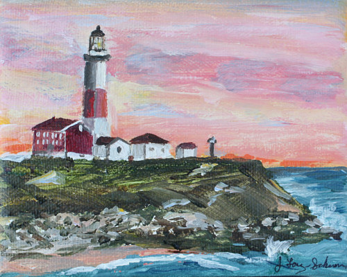 A painting of a lighthouse over a pink ocean