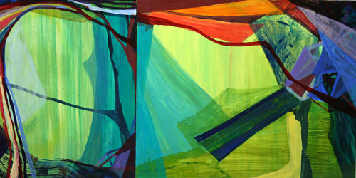 An abstract painting made with bright blue and green hues