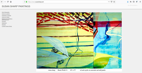 A screen capture of Susan Sharp's art portfolio website