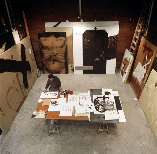 Antoni Tapies studio, working on large paintings.