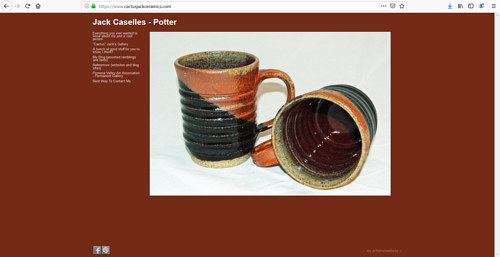 The front page of Cactus Jack Caselle's art portfolio website