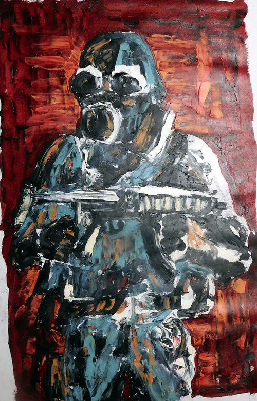 A painting of a soldier in loose, gestural form