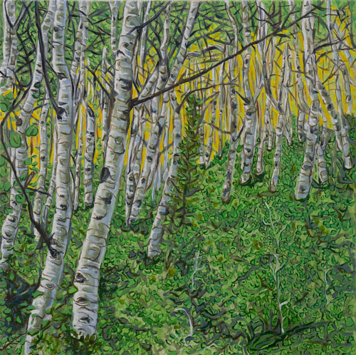A painting of a pine among birch trees