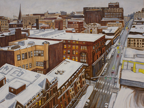 A painting of a city blanketed in snow
