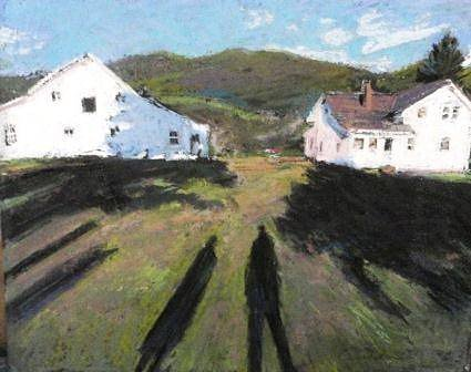 Painting of two shadows on grass with two white cottages in background
