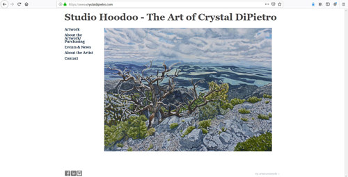 The front page of Crystal DiPietro's art portfolio website