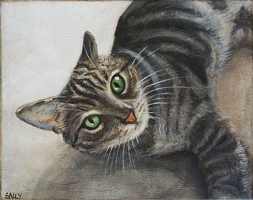 A painting of a striped cat