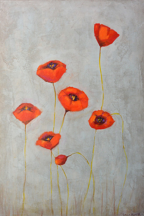 A painting of red poppies on a grey background