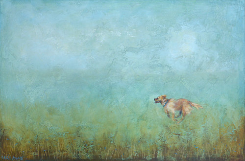 A painting of a dog running through a meadow