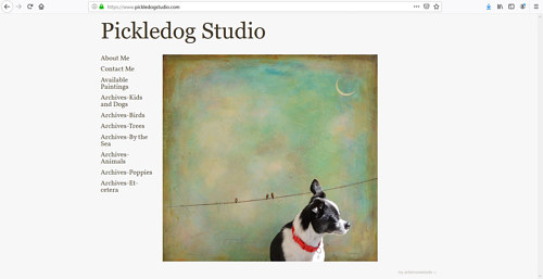 A screen capture of Sally Adams' Pickledog Studio art website