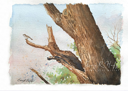 A painting of a bird on a tree limb