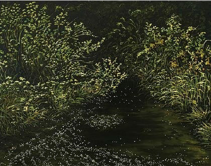 A painting of foliage surrounding water