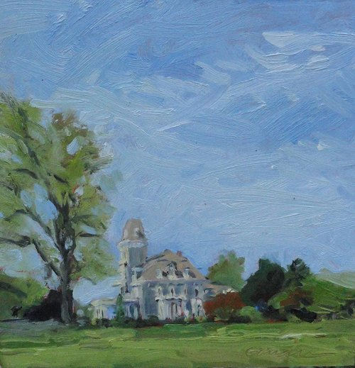 Painting of large house with tower next to large tree