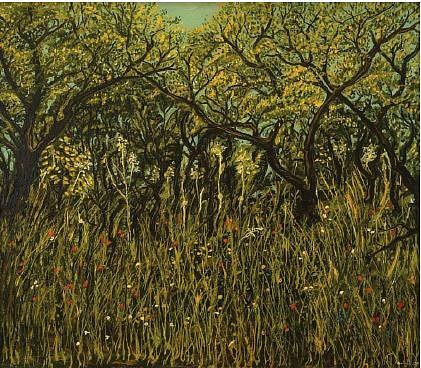 A painting of a dense grassy field