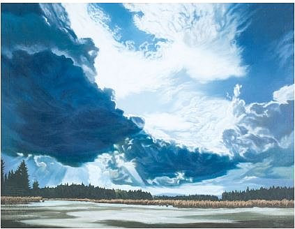 A painting of a vast sky over a body of water