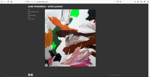 A screen capture of Jude Hotchkiss' art portfolio website