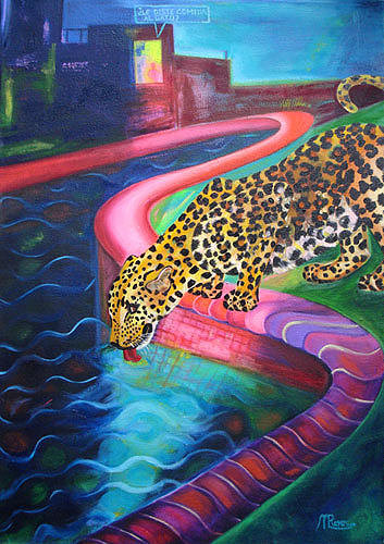 oil painting of a leopard drinking from a swimming pool