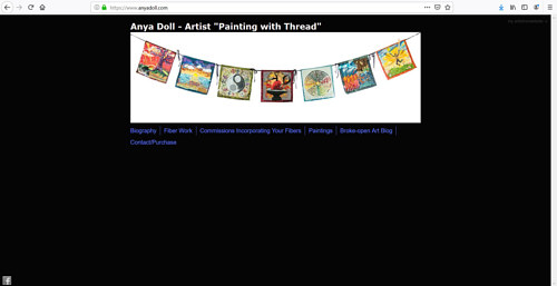 A screen capture of Anya Doll's art portfolio website
