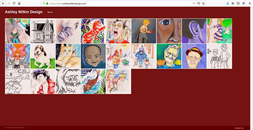 The front page of Ashley Nitkin's illustration portfolio website