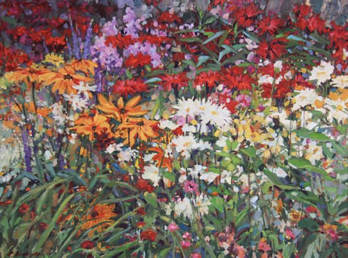 A plein air painting of dense flowers in a garden